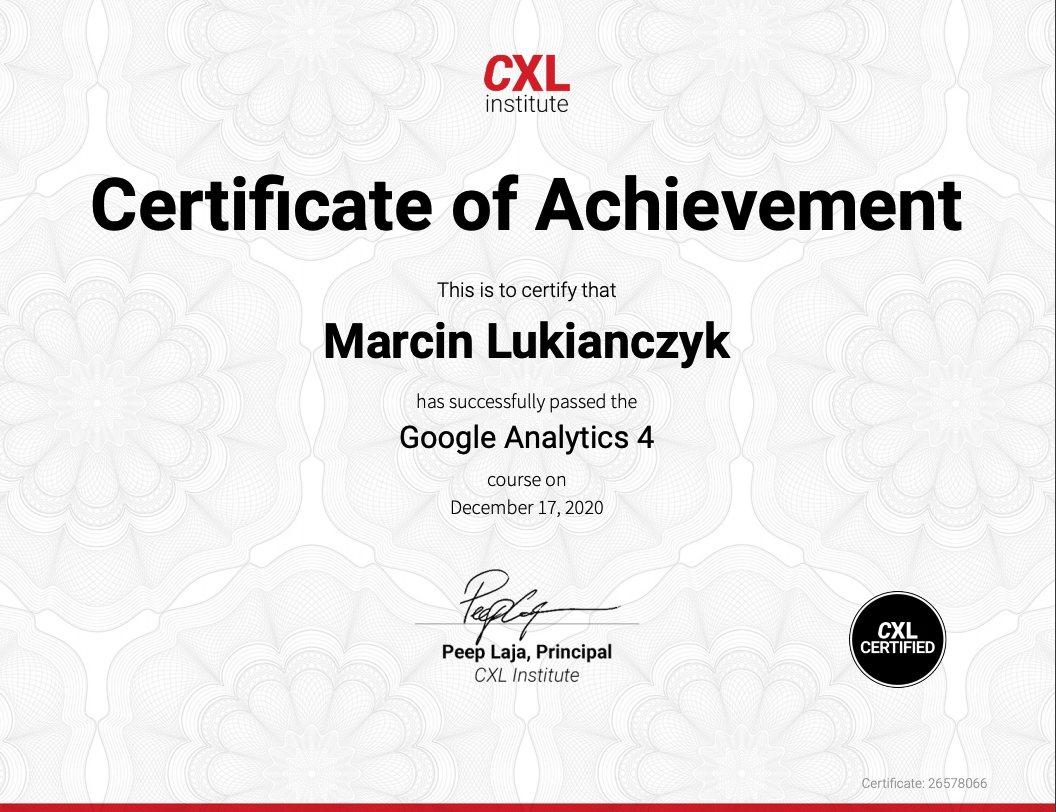 Certyfikat Google Analytics 4 - GA4